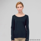 GIORDANO 女裝簡約素色棉質圓領長袖T恤 - 02 標誌海軍藍色