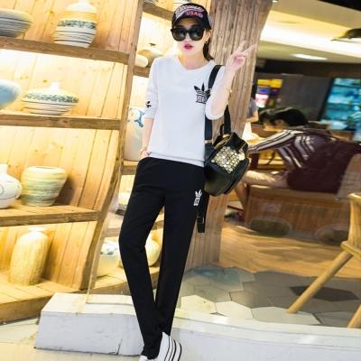 韓系-標誌英字圖印上衣-長褲運動套裝組-共五色-91-KOKO