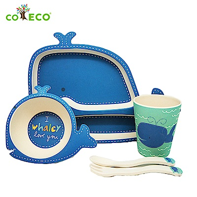 coeco竹纖維動物造型兒童餐具五件組-鯨魚