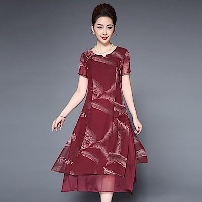 酒紅色羽毛印花雪紡短袖洋裝M~5XL-糖潮