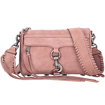 Rebecca Minkoff MAC 仿舊金屬深粉色麂皮寬背帶兩用包(展示品)