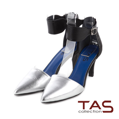 TAS-金屬質感羊皮寬版踝繫帶高跟鞋-寶石銀