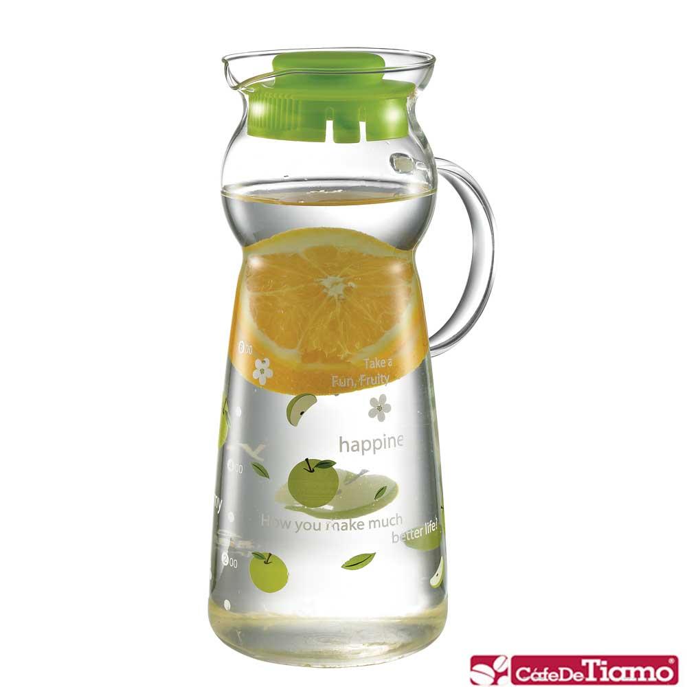 Tiamo 玻璃水壺950ml-把手款 綠色蘋果(HG2290G)