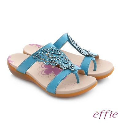effie 趣踏輕 水鑽雕花蝴蝶牛皮寬楦涼拖鞋 藍色