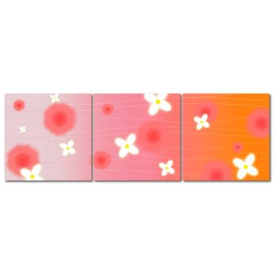 123點點貼- 三聯式無痕創意壁貼 - 粉紅花朵朵 30*30cm