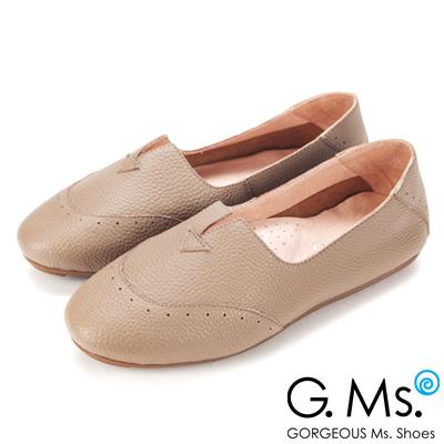 G.Ms.  全真皮車線鏤空豆豆底懶人鞋-可可灰