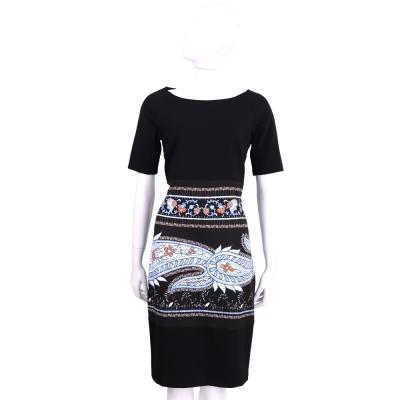 CLASS Roberto Cavalli 黑x藍色圖騰印花短袖洋裝