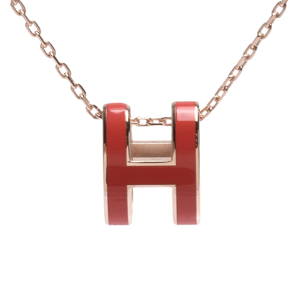 HERMES 經典Pop H立體簍空橢圓LOGO項鍊(玫瑰金X珊瑚紅)