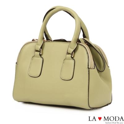 La Moda 絕佳設計感大容量側拉鏈肩背斜背波士頓子母包(綠)