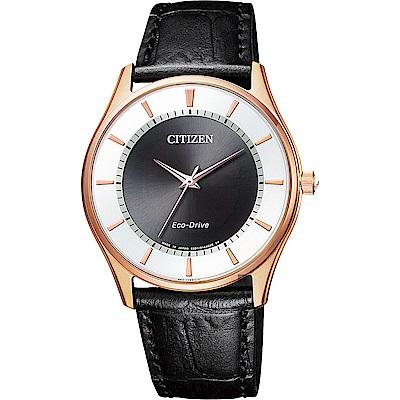CITIZEN星辰 光動能城市手錶-玫瑰金框x黑/36mm BJ6482-04E
