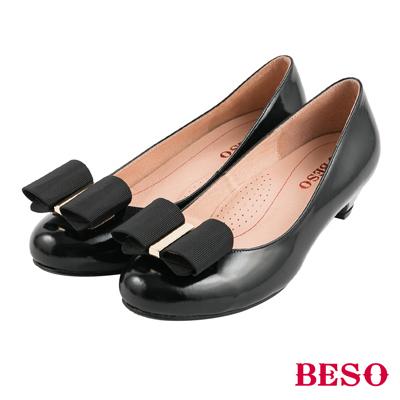 BESO清秀佳人  2ways穿法蝴蝶結與條紋織帶全真皮跟鞋~黑