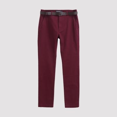 Hang Ten - 男裝 - 基本純色腰帶休閒褲 - 紅