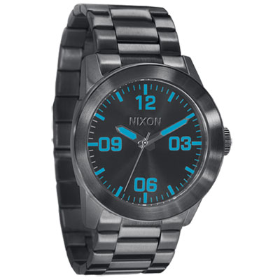 NIXON The PRIVAE 王者風範時尚腕錶-IP黑/藍時標/42mm