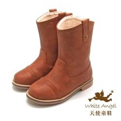 天使童鞋-D346 小牛仔復古筒靴(中-大童)-棕色