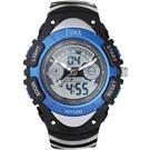 FEMA 炫彩流行 計時鬧鈴 雙顯運動錶(P308GA)-黑藍/37mm