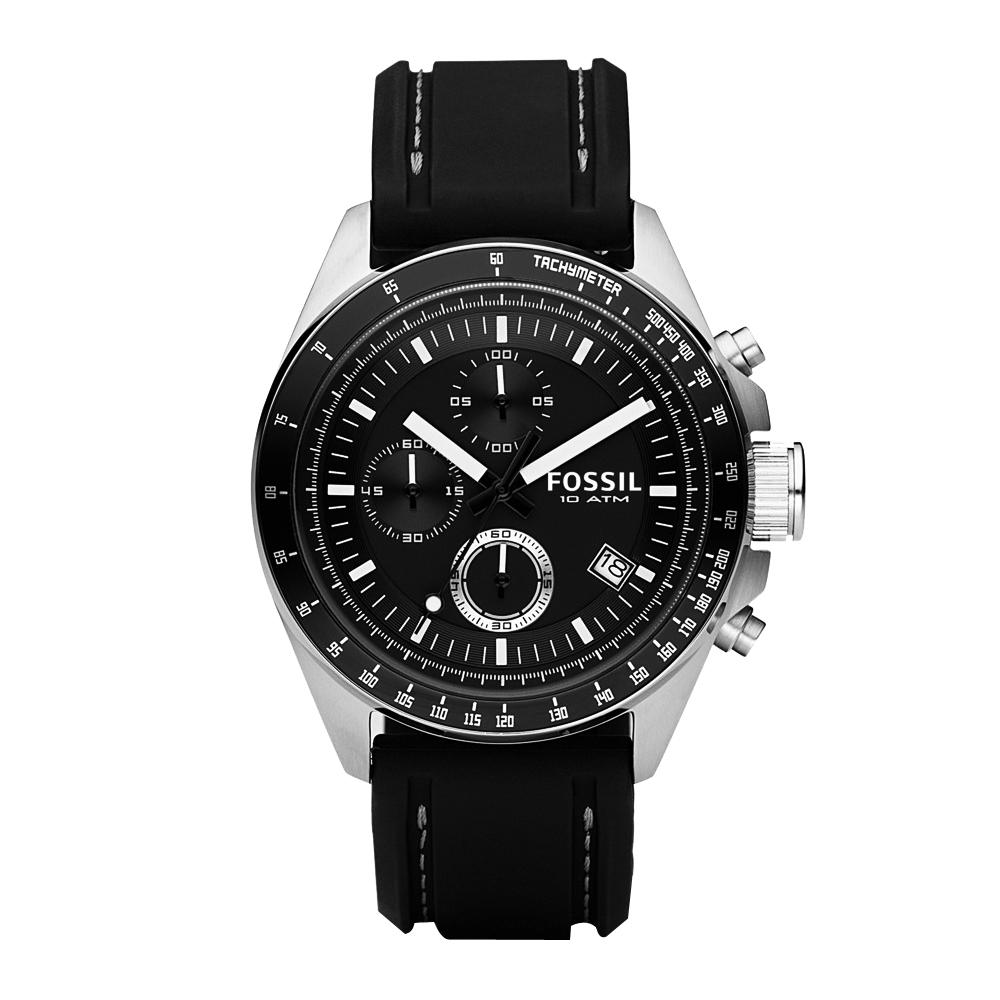 FOSSIL 都會摩登三眼計時運動腕錶-黑/42mm