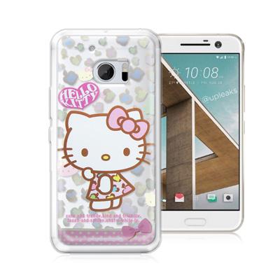 三麗鷗正版 凱蒂貓 HTC 10 / M10 透明軟式保護殼(豹紋)