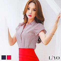 LIYO理優純棉花苞袖直紋襯衫S-2XL