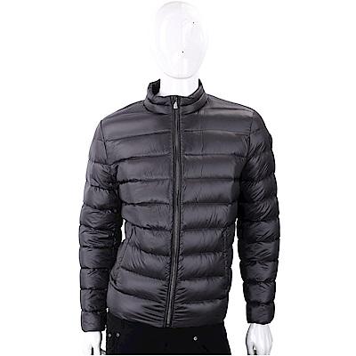 TRUSSARDI 經典皮革標炭黑色絎縫拉鍊輕羽絨夾克
