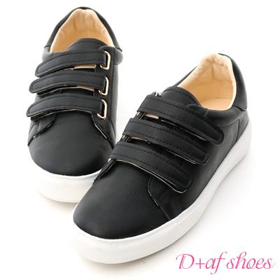 D+AF 活力時光.三條魔鬼氈休閒小白鞋*黑