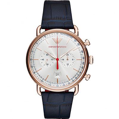 Emporio Armani Dress 亞曼尼計時手錶-銀x玫塊金框/43mm