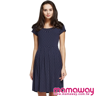 孕婦裝-哺乳衣-經典小圓裙孕哺洋裝-共二色-Mam