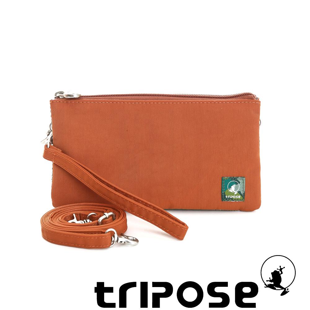 tripose 漫遊系列岩紋簡約微旅手拿/側肩包 橘