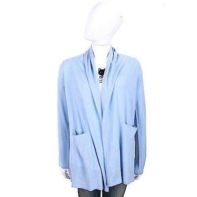 ALLUDE 100%羊毛天空藍雙口袋慵懶鬆領針織外套