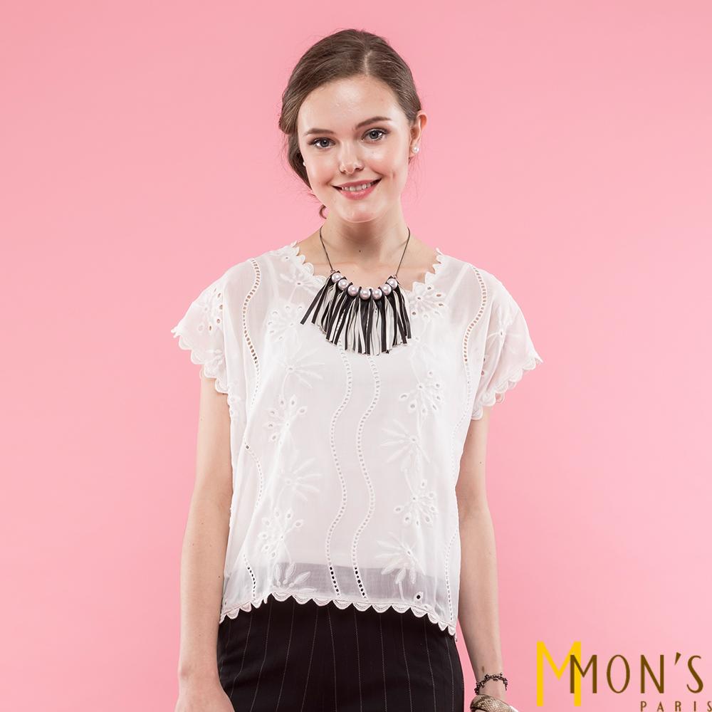 MONS 設計師款雪紡刺繡上衣