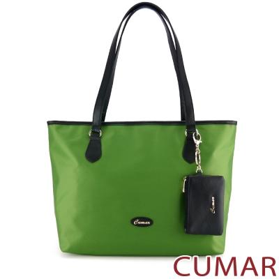 CUMAR 大容量素面防潑水托特包(附零錢包)-綠
