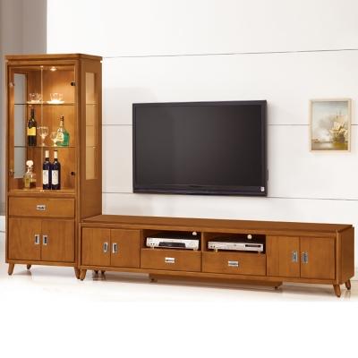 Bernice-安德倫9.4尺實木L型電視櫃組合-281x45x180cm