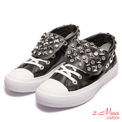 2.Maa-奢華水鑽綁帶高統休閒鞋-黑