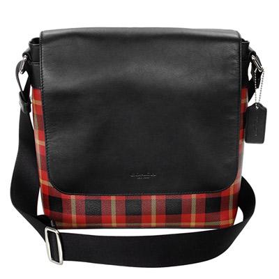 COACH黑色真皮搭紅黑格紋翻蓋方型斜背男包