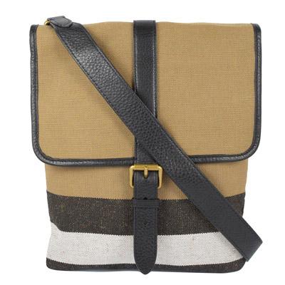 BURBERRY  經典格紋棉麻皮飾邊翻蓋斜背包.黑邊