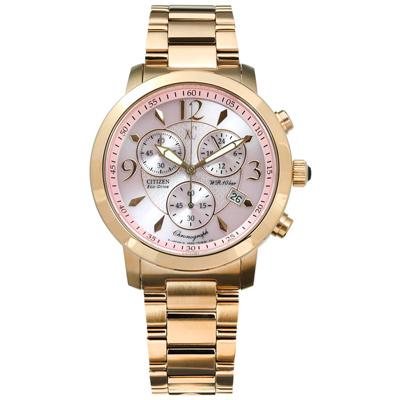 CITIZEN  XC 光動能三眼計時防水100米不鏽鋼手錶-粉x鍍玫瑰金/36mm