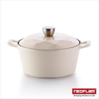 韓國NEOFLAM Carat系列 24cm陶瓷不沾湯鍋+陶瓷塗層鍋蓋(鑽石鍋)