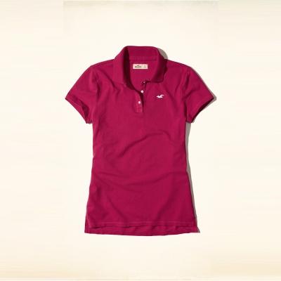 HCO Hollister 海鷗 經典刺繡海鷗Polo衫(女)-桃紅色