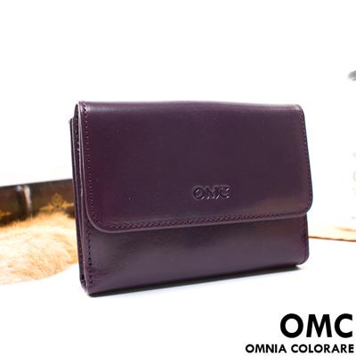 OMC - 原皮魅力真皮系列三折式6卡1照中夾-神秘紫