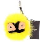 FENDI Flashy Bag Bug 狐狸毛拼接吊飾(黃色)
