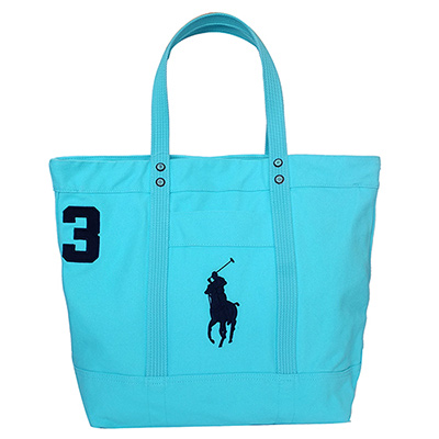 RALPH LAUREN POLO經典Logo復古大型托特包-水藍