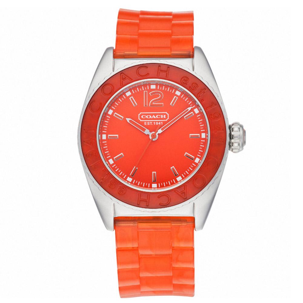 COACH Andee 海洋之星繽紛幻彩腕錶-陽光橘/38mm