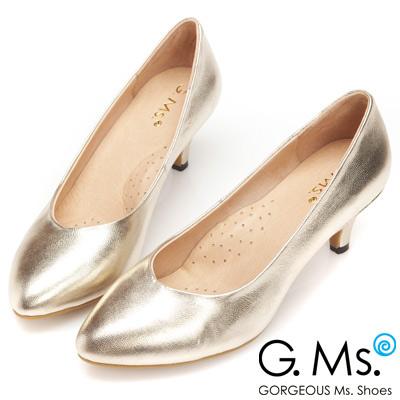 G.Ms.  絕對定番-全真皮尖頭雙窩心素面靜音跟鞋-香檳金