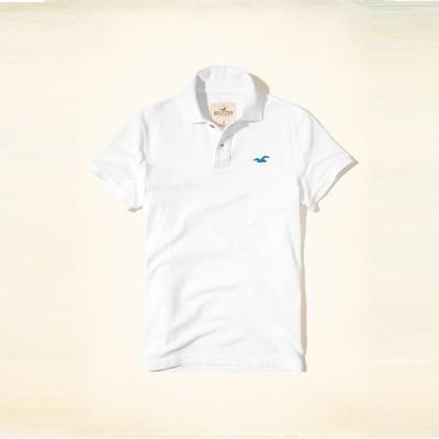 Hollister 經典海鷗刺繡短袖Polo衫-白色 HCO