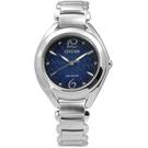 CITIZEN L 花朵盛開白蝶貝光動能不鏽鋼手錶(FE2070-50L)-藍/31mm