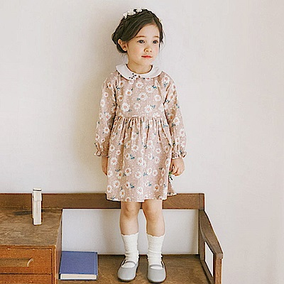 BEBEZOO 粉色圓領花朵長袖洋裝