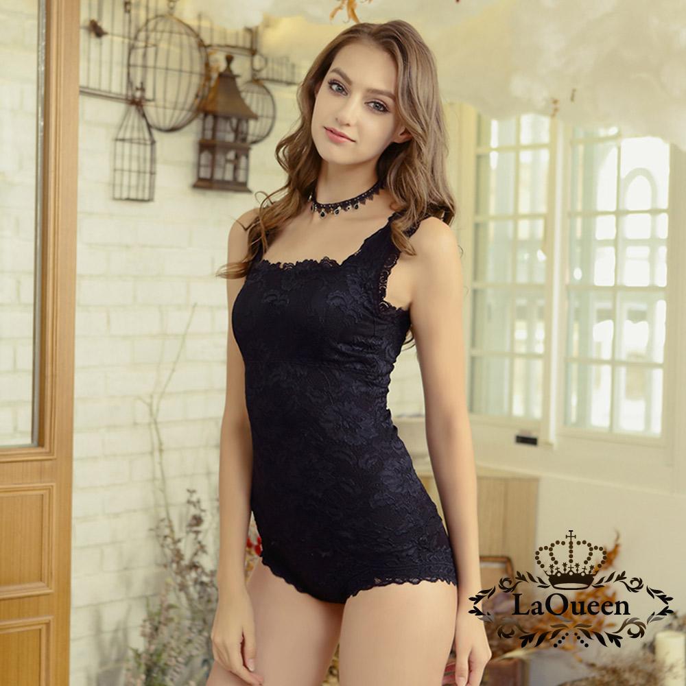 內衣  3M浪漫蕾絲蠶絲背心組-黑 La Queen
