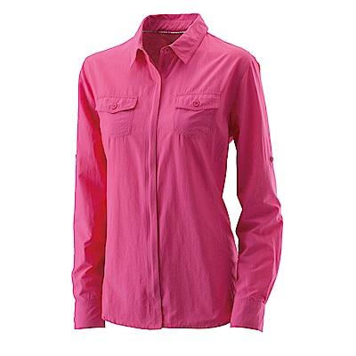 【Wildland 荒野】女拉鏈可調節抗UV襯衫桃紅