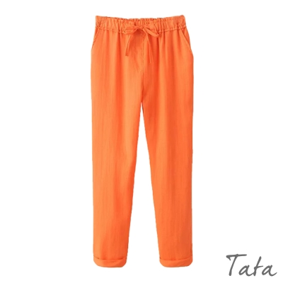 鬆緊腰繫帶長褲-共四色-TATA