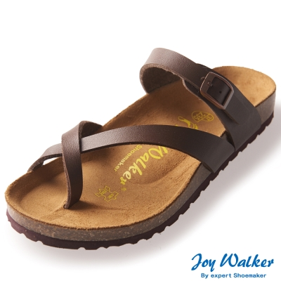 Joy Walker 素面交叉帶夾腳涼鞋* 深咖啡
