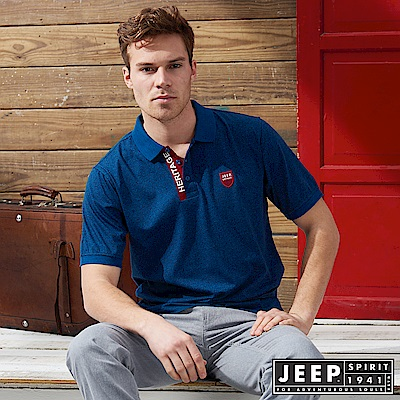 JEEP 簡約造型短袖POLO衫-藍色